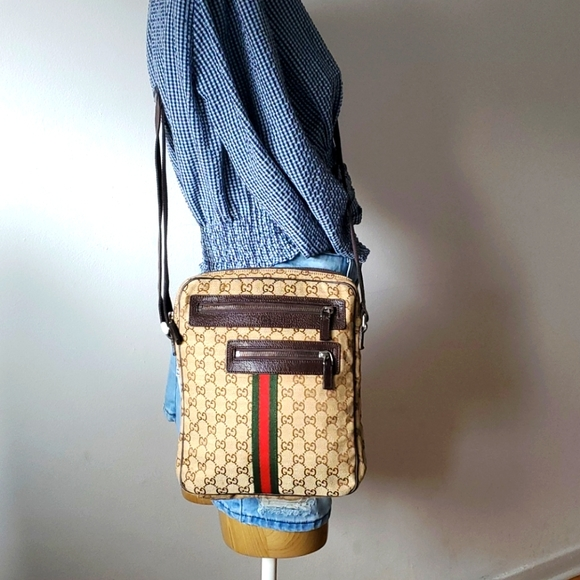 GUCCI Monogram Canvas Messenger Bag